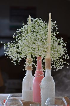 my beautiful centerpieces wine bottles glitter babys breath coral and pearls wedding Pearl Bridal Shower, Pearl Baby Shower, Bridal Shower Tables, Bridal Shower Centerpieces, Fall Wedding Centerpieces, Bridal Shower Rustic, Wedding Decorations, Table Decorations, Pearl Centerpiece