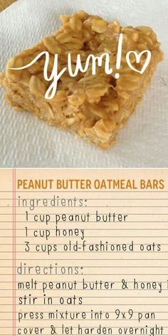 peanut butter oatmeal bars: use natural peanut butter