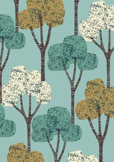 $35 Autumn Trees Teal | Eloïse Renouf
