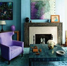 Purple and teal, beautiful combination.