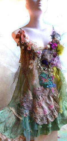 Unique Art To Wear Green Silk Dress ANTIQUE by Paulina722