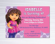 Artículos similares a Invitación del Fiesta de cumpleaños de Dora - Dora y amigos invitamos a - personalizada imprimible archivo Digital - 5 x 7 o 4 x 6 en Etsy