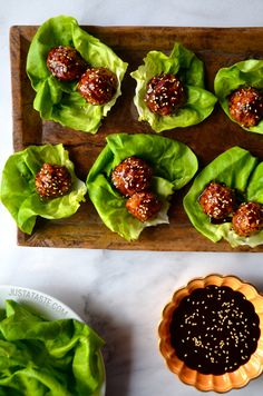 Baked Asian Chicken Meatball Lettuce Wraps #recipe from justataste.com