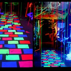 Mystical Glowing Walkway.  (Fluorescent paper and a black light)  I think I'll make monster feet footprints!