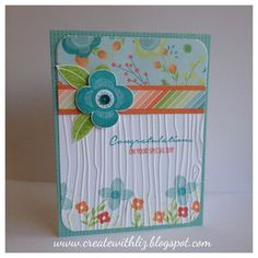 Blossom paper, Shower Flowers, Oceanside sequins, and Woodgrain embossing folder -
