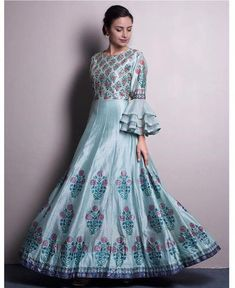 Beautiful pure silk digital printed Gown with superb embellishments and modern sleeves detailing. Indian Gowns Dresses, African Fashion Dresses, Indian Outfits, Anarkali Dress, Lehenga, Saree, Frock Fashion, Women's Fashion, Kids Blouse Designs