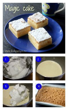 Magic cake recipe: The magic in Magic cake is that it separates into layers in the oven with little-to-no effort from you. It has a sponge top and custard centre. Magic Cake Recipes, Easy Cake Recipes, Sweet Recipes, Dessert Recipes, Desserts, Apple Slab Pie, Magic Custard Cake, Recipe Finder, Biscuit Recipe