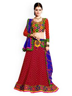 Touch Trends Maroon & Blue Faux Georgette Semi-Stitched Lehenga Choli Material with Dupatta