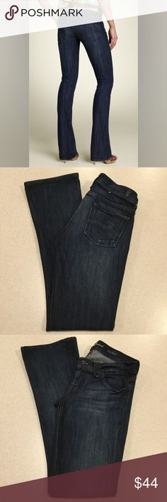 7 For All Mankind Jeans 26X32 Rocker Bootcut Soho! 7 for all mankind jeans The rocker slim Bootcut Soho wash! Tricolor dark blues stitched pockets Size 26 32 inch professionally hemmed inseam inseam Beautiful vibrant dark blue wash Stretch denim, super slimming style Perfect condition, maybe worn once!  All of my items come from a smoke free, pet free home and are authenticity guaranteed! Please ask any questions and reasonable offers are always welcome. 9 7 For All Mankind Jeans Boot Cut