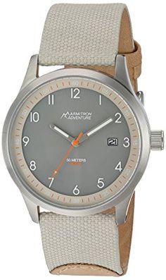 ee8b035b16d7 Amazon.com  Armitron Adventure Unisex AD 1007GYSVTN Solar Powered Date  Function Dial Sand Colored Nylon Strap Watch  Watches