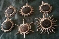 Obsidianas Engarzadas con alambre de alpaca.