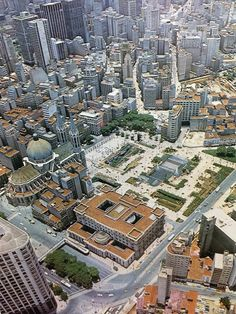 Sé Square with the Cathedral and Justice Palace back in 1978 - Sao Paulo, Brazil