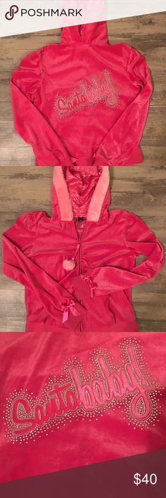 "Victoria's Secret santa baby hoodie Size medium vs santa baby hoodie. Pink with ""santa baby"" written with rhinestones around it. Zips in the front. Super cute just in time for the holidays. Good condition. No rips holes or stains. Victoria's Secret Jackets & Coats"