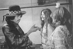"4th, 1968: Jimi, Janis, and Peggy Caserta, Janis's girlfriend. (She wrote ""Going Down w/ Janis"".) photo Jim Marshall Photo Jim, Janis Joplin, Jimi Hendrix"