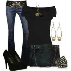 Outfit for summer fashion night life! Mode Outfits, Casual Outfits, Fashion Outfits, Womens Fashion, Fashion Trends, Fashion Ideas, Black Outfits, Casual Wear, Jean Outfits