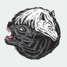 Yin yang wolf illustration | Premium Vector #Freepik #vector #cartoon #animal #chinese #china Yin Yang Wolf, Yin Yang Art, Spirit Animal Tattoo, Wolf Spirit Animal, Illustration Main, Gravure Illustration, Yin Yang Tattoos, Wolf Tattoos, Tatoos