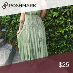 Dress Green flowy dress. Nice for casual or dressy  events. Large but could fit a med/small as well. Dresses