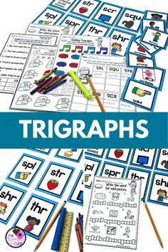 Are you teaching trigraphs as part of your phonics program? This trigraphs unit gives you numerous first grade phonics activities to use. Students can practice sorting words with the word sorts and also complete trigraph phonics worksheets. These three letter blend activities are appropriate for learning centers, word centers, small group, guided reading, homework, or distance learning. Use this in your 1st grade, kindergarten, or second grade classroom!