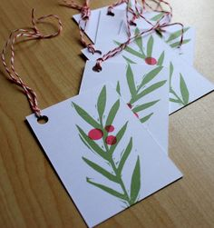 Red Bayberry - Botanical Collection - Handmade Gift Tags - Set of 6