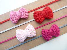 Pick 1--Crochet Bow Headband--Valentine's Day--Baby headband--Girls Hair accessories--Skinny elastic headband. $7.00, via Etsy.