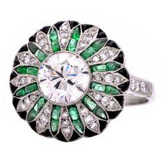 1stdibs.com | 2.55cts Diamond Emerald Onyx Platinum Cocktail Ring