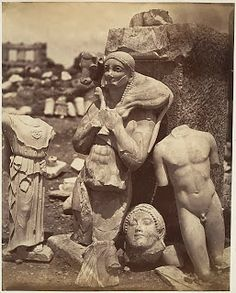 """didoofcarthage: """" """"The Calf-Bearer and the Kritios Boy Shortly After Exhumation on the Acropolis"""" c. 1865 albumen silver print from glass negative Gilman Collection, Metropolitan Museum of Art """" Ancient Greek Sculpture, Ancient Greek Art, Ancient Rome, Ancient Greece, Archaic Greece, Greek History, Ancient History, Art History, Roman Sculpture"""