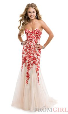 Red flowered prom dress