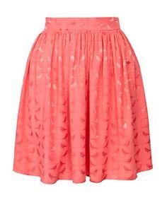 Apricot Jacquard Bird Print Skater Skirt