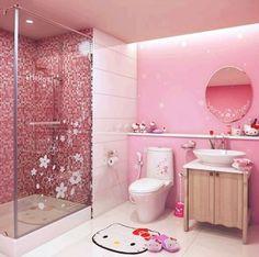 Hello Kitty bath accessories in a pink bathroom. Hello Kitty Zimmer, Hello Kitty Haus, Hello Kitty Bathroom, Hello Kitty Rooms, Bathroom Kids, Small Bathroom, Master Bathroom, Teenage Bathroom, Feminine Bathroom