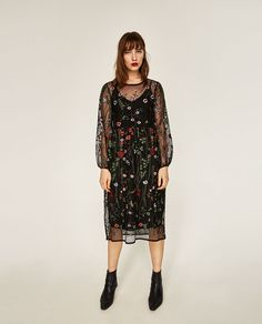34daa87df5a3 LONG FLORAL EMBROIDERED DRESS - COLLECTION-WOMAN-SALE