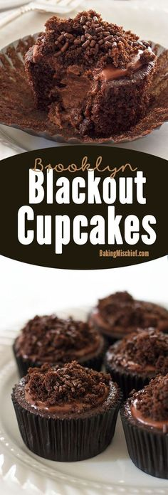 Insanely chocolatey Brooklyn Blackout Cupcakes made with three different types of chocolate, stuffed with a creamy chocolate pudding, and topped with sprinkles and a chocolate glaze. Recipe includes n(Chocolate Glaze Recipe) Baking Cupcakes, Yummy Cupcakes, Cupcake Recipes, Cupcake Cakes, Dessert Recipes, Cheesecake Cupcakes, Pudding Desserts, Chocolate Cupcakes, Chocolate Desserts