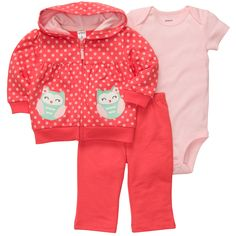 3-Piece French Terry Cardigan Set | Baby Girl New Arrivals