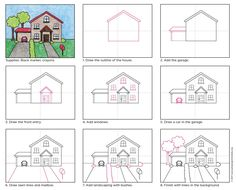Draw a House · Art Projects for Kids Drawing Lessons For Kids, Art Drawings For Kids, Drawing Skills, Easy Drawings, Art For Kids, Kindergarten Art Lessons, Art Lessons Elementary, Basic Drawing, Step By Step Drawing