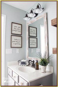 modern farmhouse bathroom makeover, bathroom ideas, home decor, wall decor Modern Farmhouse Bathroom, Modern Bathroom Decor, Bathroom Wall Decor, Small Bathroom, Bathroom Ideas, Bathroom Makeovers, Restroom Ideas, Bathroom Hacks, Bathroom Signs