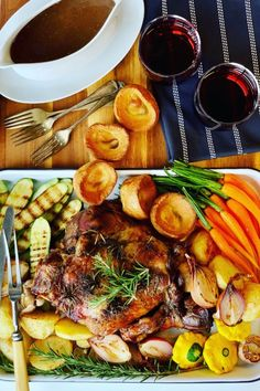 Slow Roast Leg of Lamb recipe, perfect for a Sunday Roast, an Easter Lamb lunch, Passover or for dinner tonight. Roast Lamb with pierced with fresh rosemary and garlic.