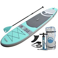Atoll Foot Inflatable Stand Up Paddle Board Inches Thick, 32 inches Wide) ISUP, Bravo Hand Pump and 3 Piece Paddle, Travel Backpack and Accessories New Leash Included Best Inflatable Paddle Board, Sup Stand Up Paddle, Sup Yoga, Standup Paddle Board, Sup Surf, Paddle Boarding, Travel Backpack, Surfboard, Thing 1