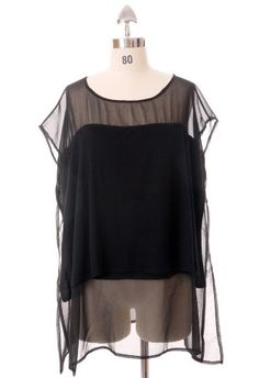 Triple Layers Tulle Tunic in Black by Chic+