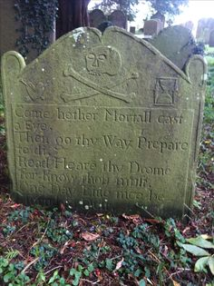 Pirate Grave. Local legend suggests that this is the headstone of one of Blackbeard's crew. The crew member repented his sins whilst being cared for in his twilight days, by the vicar of the church at Brockley, Nr Bristol. Most pirates were buried at sea, so this is a rare find.