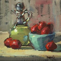 """""""Italian Plums and Olive Oil"""" - Original Fine Art for Sale - © Cathleen Rehfeld"""