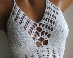 White halter top, Crochet halter top