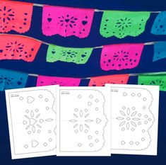 Easy DIY papel picado templates Party decoration ideas for any Holiday festive celebrations. 3 easy to make DIY papel picado templates and instructions included. Quinceanera Planning, Quinceanera Party, Diy Décoration, Easy Diy, Day Of The Dead Party, Mexican Fiesta Party, Fiesta Decorations, Thinking Day, Printable Crafts