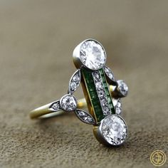 Edwardian Diamond and Emerald Cocktail Ring - Estate Diamond Jewelry.Edwardian Diamond and Emerald Cocktail Ring - Estate Diamond Jewelry - Antique Ring - Circa 1910 Antique Engagement Rings, Antique Rings, Antique Jewelry, Vintage Jewelry, Art Deco Jewelry, Fine Jewelry, Jewelry Design, Emerald Jewelry, Diamond Jewelry
