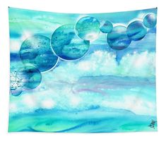 Blue ocean wall tapestry from original watercolor painting by Sabina von Arx Coastal Bathroom Decor, Ocean Home Decor, Save Our Oceans, Canvas Prints, Art Prints, Color Show, Wall Tapestry, Colorful Backgrounds, Watercolor Paintings