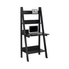 Ladder Style Computer Desk ($230) ❤ liked on Polyvore featuring home, furniture, desks, brown, ladder shelving, storage desk, home storage furniture, brown shelf and storage shelves