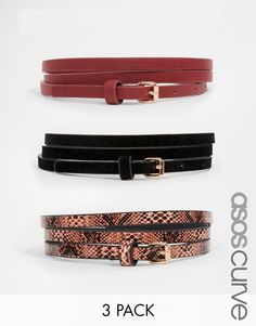 ASOS Curve | ASOS CURVE 3 Pack Super Skinny Faux Suede PU And Faux Snake Belts at ASOS