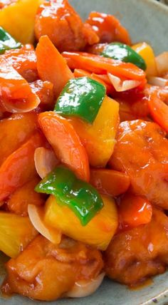 Sweet and Sour Pork Recipe ~ A better version of the Chinese-American classic with battered marinated pork glazed in a sweet and sour sauce made with all-natural ingredients.