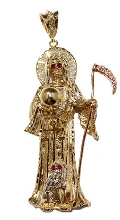 Santa Muerte Gold Plated Pendant with CZ with 24 inch Chain