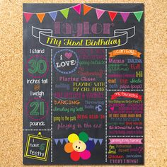 BabyFirstTV Inspired Chalkboard First Birthday Poster - Customizable - Printable by OwenandSally on Etsy