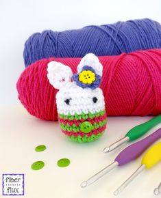 Mrs. Bunny Cottontail, free crochet pattern and full video tutorial from Fiber Flux!