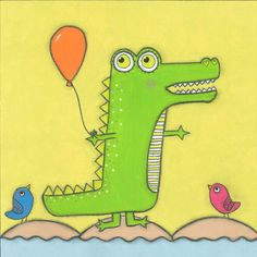 Marmont Hill - 'Crocodile with Balloon' by Tatijana Lawrence Painting Print on Wrapped Canvas